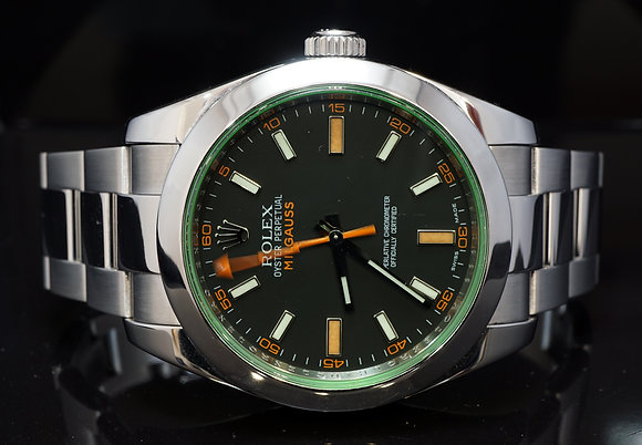 ROLEX 2009 Milgauss, Green Glass, 116400GV, Box & Papers