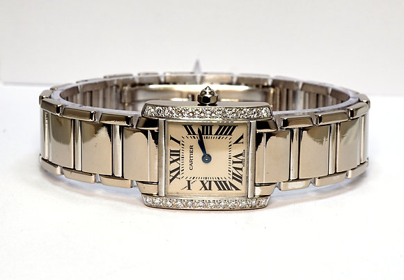 CARTIER 2007 Tank Francaise 18ct White Gold, WE1002S3, Diamond Set, Box & Papers