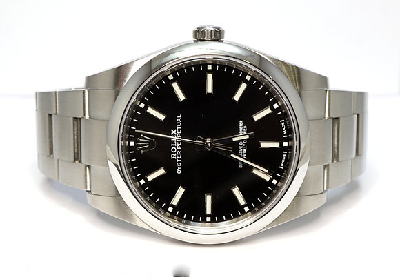 ROLEX 2019 Oyster Perpetual 39, 114300, Black Baton, MINT, Box & Papers