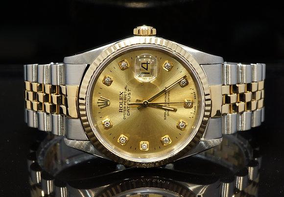 ROLEX 1992 Datejust 36, Steel & Gold, 16233, Diamond Dot Dial