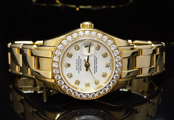 ROLEX 2003 29mm Pearlmaster, 18ct Yellow Gold, Full Diamond,80298, Box & Papers
