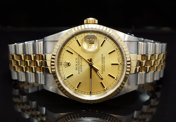 ROLEX 2001 Datejust 36, Steel & Gold, 16233, MINT, Box & Papers