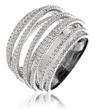 18ct White Gold 9 Row fancy Diamond Dress Ring