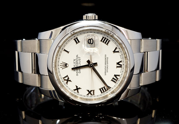 ROLEX 2009 Datejust 36, White Roman, 116200, Box & Papers