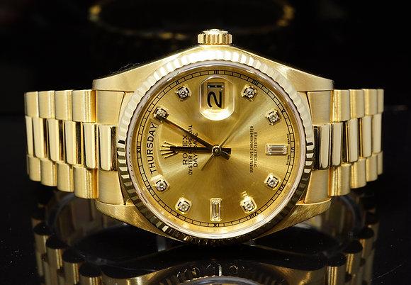 ROLEX 1981 36mm Day-Date, 18ct Yellow Gold, Diamond Dot Dial, £4k Rolex Service
