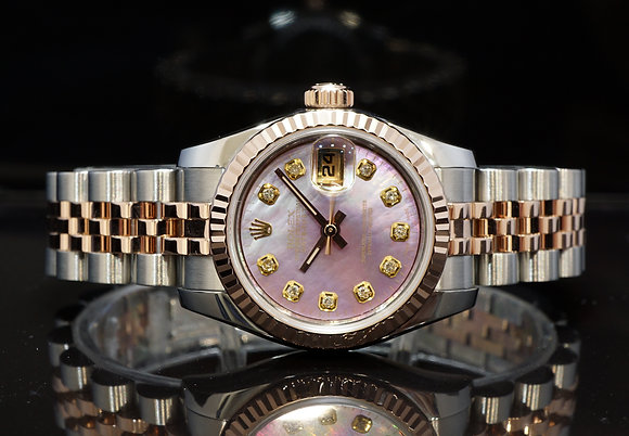ROLEX 2011 Datejust 26, Steel & Rose, 179171, Diamond Dial, Box & Papers