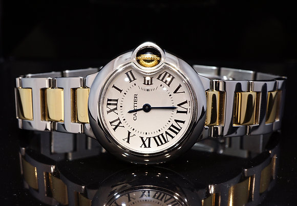 CARTIER 2008 28mm Ballon Bleu Steel & Gold, W69007Z3, Box & Papers,  Serviced