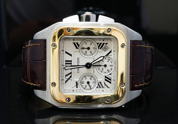 CARTIER 2010 Santos 100XL Chrono, Steel & Gold, Box & Papers
