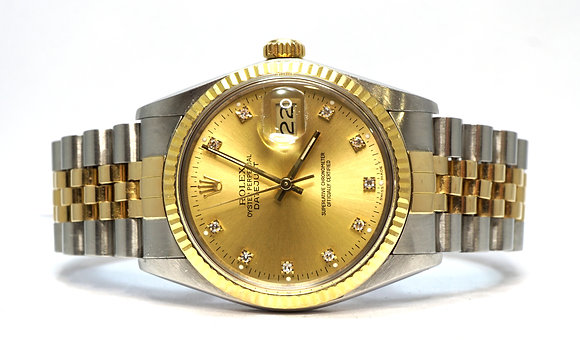 ROLEX 1987 Datejust 36, 16013, Steel & Gold, Diamond Dial, Just Serviced, Boxed