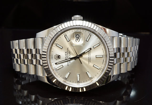 ROLEX 2017 Datejust 41, 126334, Silver Baton, MINT, Box & Papers