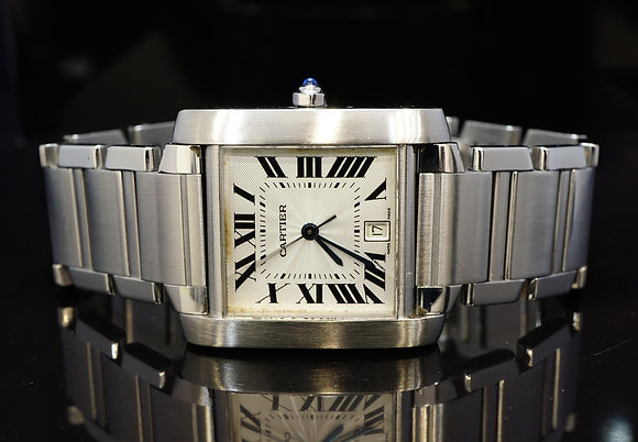 CARTIER 2003 Tank Francaise, Large Auto, Steel, W51002Q3, Box & Papers