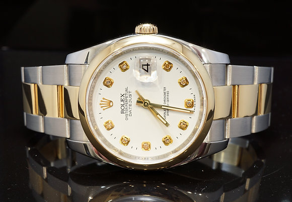 ROLEX 2013 36mm Datejust, Steel & Gold, 116203, Diamond Dot Dial, Box & Papers