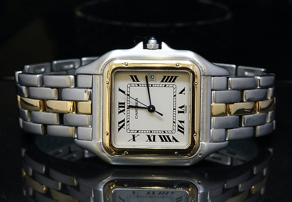 CARTIER 1996 Large 1 Row Panther, Steel & Gold, Box & Papers