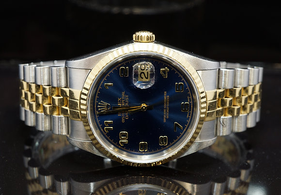 ROLEX 2003 Datejust 36, Steel & Gold, Blue Arabic, 16233, Box & Paper