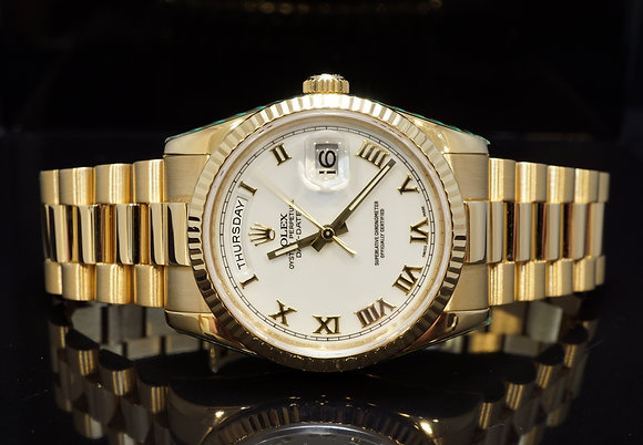 ROLEX 2006 Day-Date 36, 18ct Yellow Gold, 118238, Rolex Service May 2019, Boxed