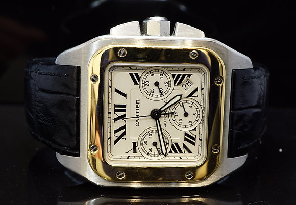 CARTIER 2006 Santos 100XL Chronograph, Steel & Gold, W20091X7, Box & Papers