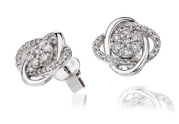 18ct White Gold Diamond Knot Studs