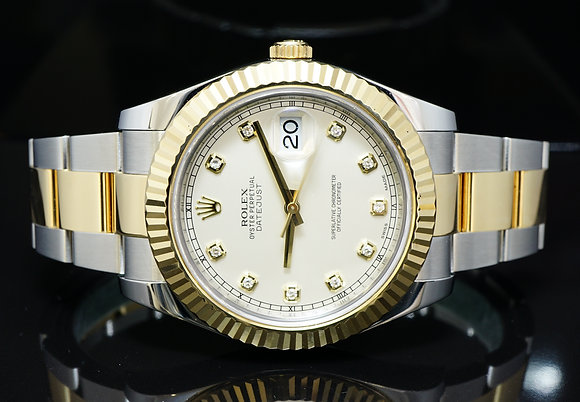 ROLEX Datejust 2, Steel & Gold, Diamond Dot Dial, 116333, MINT, Boxed
