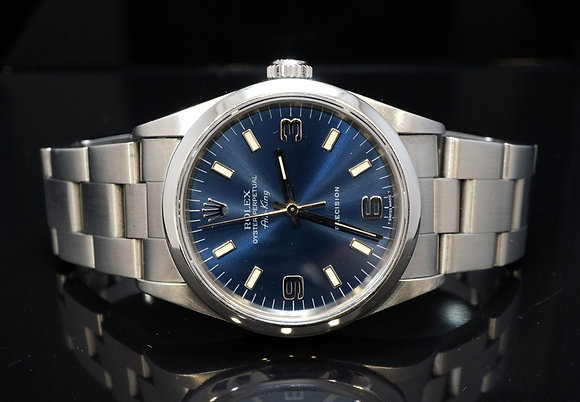 ROLEX 1995 Air-King 34, 14000, Stainless Steel, Blue Dial