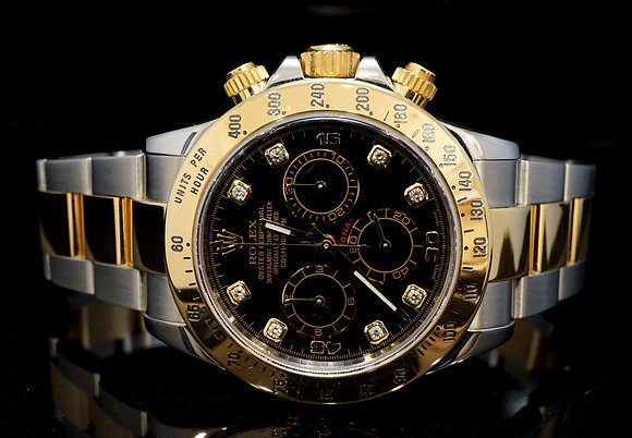 ROLEX 2014 Daytona, Steel & Gold, 116523, Diamond Dot Dial, Box & Papers