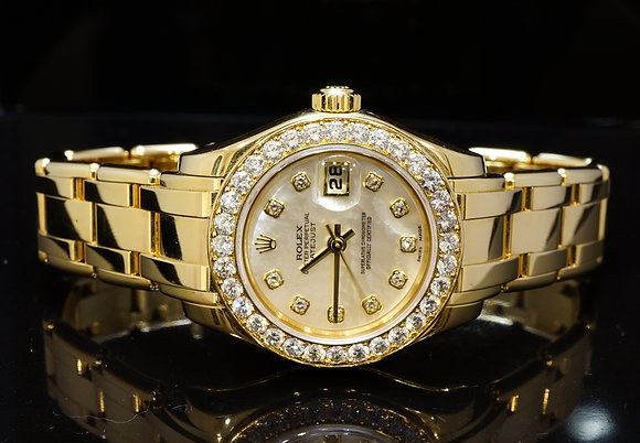ROLEX 2002 29mm Pearlmaster, 18ct Gold, 80298, Diamond Dial/Bezel, Box & Papers