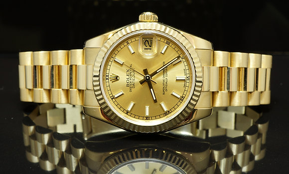 ROLEX 18ct Yellow Gold, 2015, 31mm Datejust, B&P