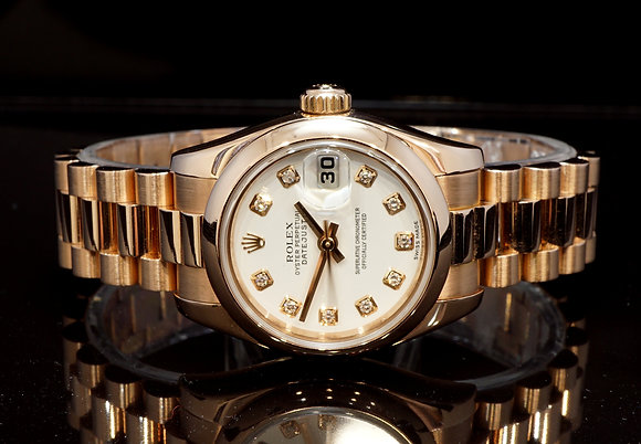 ROLEX 2009 Datejust 26, 18ct Rose Gold, 179165, Diamond Dot, Serviced, B&P