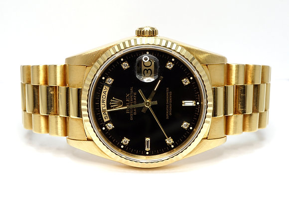 ROLEX 1995 Day-Date 36, 18238, President Bracelet, Black Diamond Dot Dial, Boxed