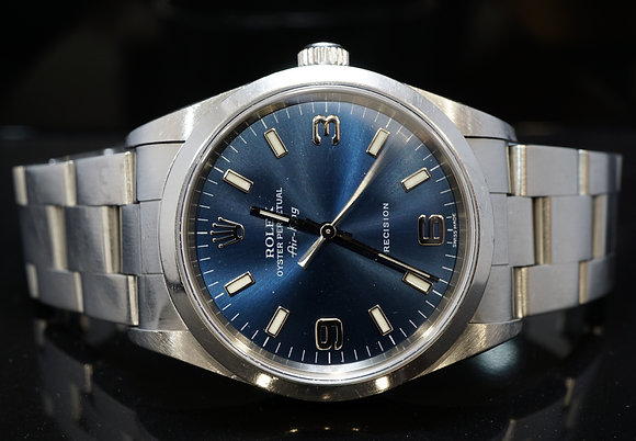 ROLEX 2000 34mm Air-King, Steel, 14000m, Blue Dial, Box & Papers
