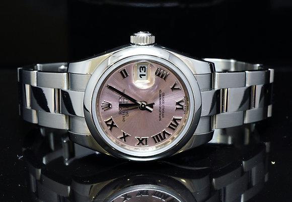 ROLEX 2015 26mm Datejust, Steel, Pink Roman, 179160, MINT, Box & Papers