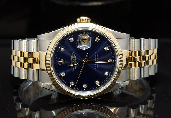 ROLEX 1989 Datejust 36, Steel & Gold, 16233, Jubilee Bracelet, Blue Diamond D