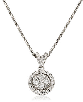 18ct White Gold Halo Cluster Pendant & Chain