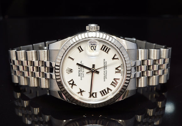 ROLEX 2016 31mm Datejust, White Roman, 178274, Box & Papers
