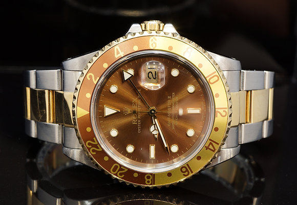 "ROLEX 1999 GMT Master II ""Rootbeer"", 16713, Steel Gold, Boxed"
