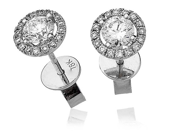 18ct White Gold Diamond Halo Studs