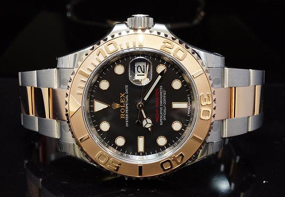 ROLEX 2017 Unworn Yacht-Master, Steel & Rose Gold, Black, 116621, Box & Papers
