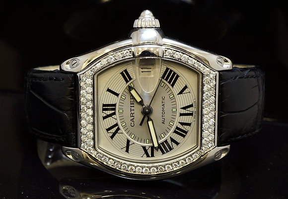 CARTIER Large Roadster, Diamond Set Bezel, MINT, Boxed