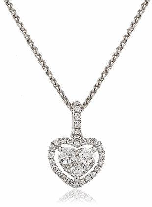 18ct White Gold Heart Shape Halo Pendant & Chain