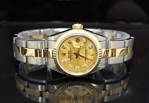ROLEX 1984 Datejust 26, 69173, Steel & Gold, Diamond Dot Dial, Box & Papers