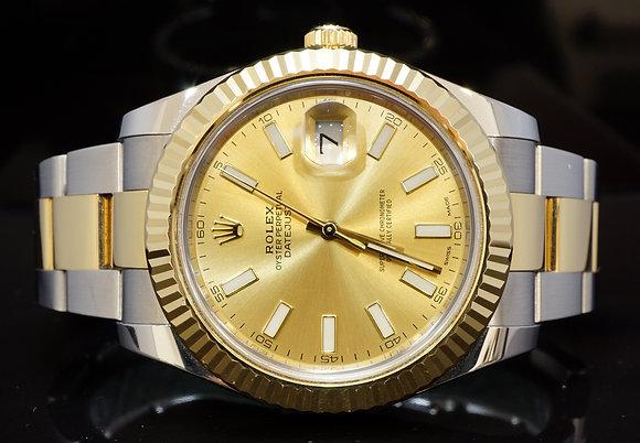 ROLEX 2016 41mm Datejust 2, Steel & Gold, MINT, Gtee till 08/21, Box & Papers