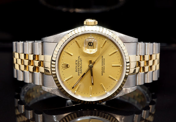 ROLEX 1992 Datejust 36, 16233, Steel & Gold, Box & Papers