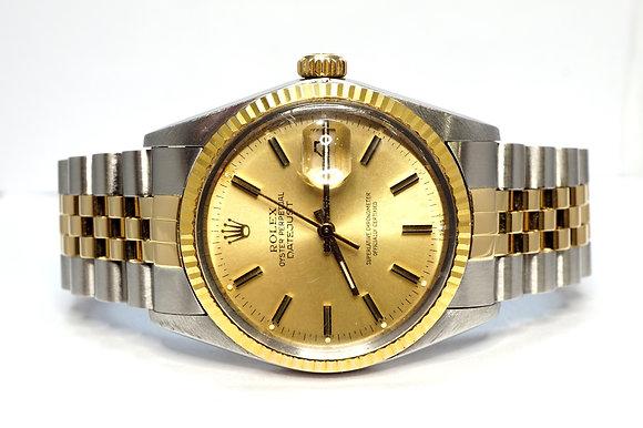 ROLEX 1985 Datejust 36, 16013, Steel & Gold, Champagne Baton, Boxed