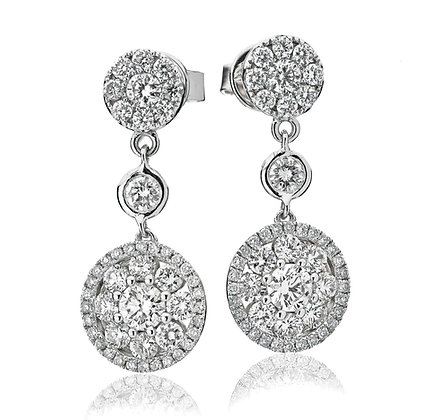 18ct White Gold Diamond drop Earrings 2.00ct