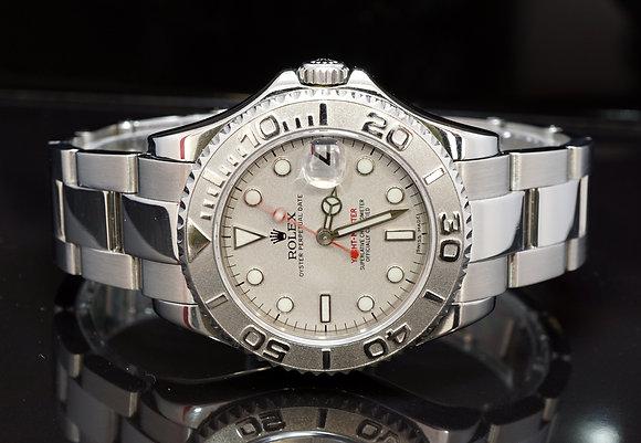 ROLEX 2002 Yacht-Master 35, 168622, Platinum Bezel, Boxed
