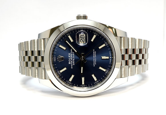 ROLEX 2019 Datejust 41, 126300, Blue Baton, Jubilee, Box & Papers