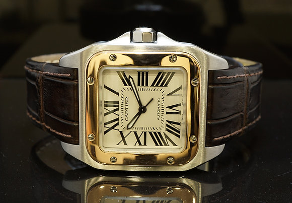 CARTIER 2007 Santos 100, Steel & Rose Gold, W20107X7, MINT, B & P