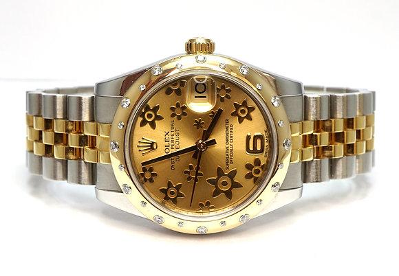 ROLEX 2011+ 31mm Datejust, Steel & Gold, 178343, Scattered Diamond Bezel