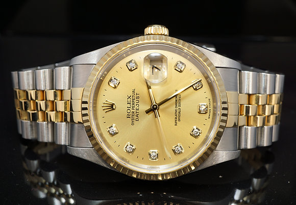 ROLEX 2003 36mm Datejust, Steel & Gold, Diamond Dial, Box & Papers
