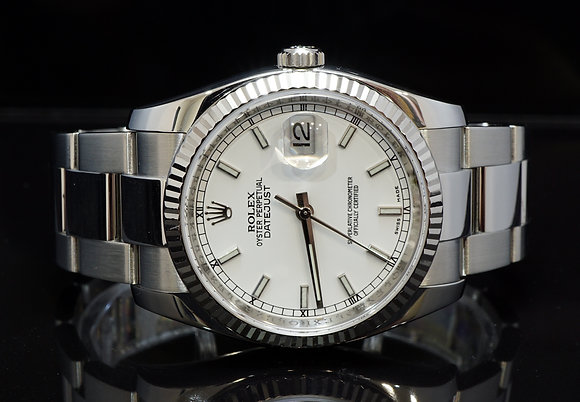 ROLEX 2007 Datejust 36,White Gold Bezel, 116234, Box & Papers