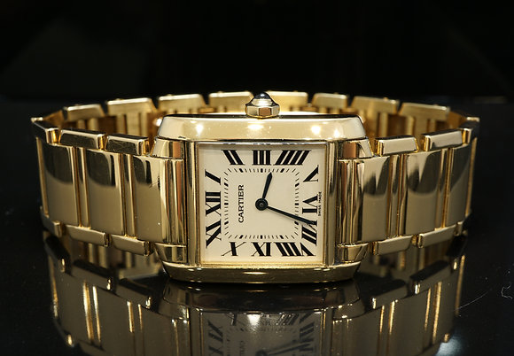 CARTIER Tank Framcaise, 18ct Yellow Gold, Mid Size, 1821, Boxed